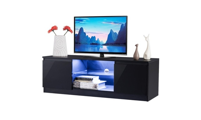 Most Recently Released High Gloss Tv Stand Unit Cabinet Media Console Furniture Throughout Tv Stands Cabinet Media Console Shelves 2 Drawers With Led Light (View 7 of 10)
