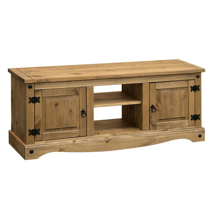 Most Recently Released Long Tv Unit In Traditional Pine With Black Steel Throughout Corona Small Tv Stands (View 7 of 10)