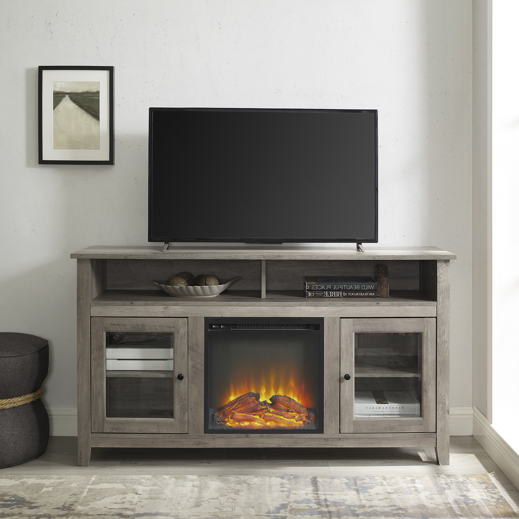 """Most Recently Released Lorraine Tv Stands For Tvs Up To 60"""" Within Walker Edison Grey Wash Tall Fireplace Tv Stand For Tvs Up (View 1 of 25)"""