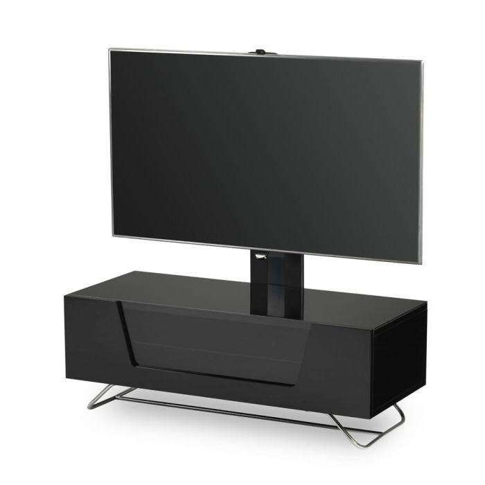 """Most Recently Released Milan Glass Tv Stands Regarding Chromium 2 Cantilever Tv Stand In Black For 50"""" Tvs (View 2 of 10)"""