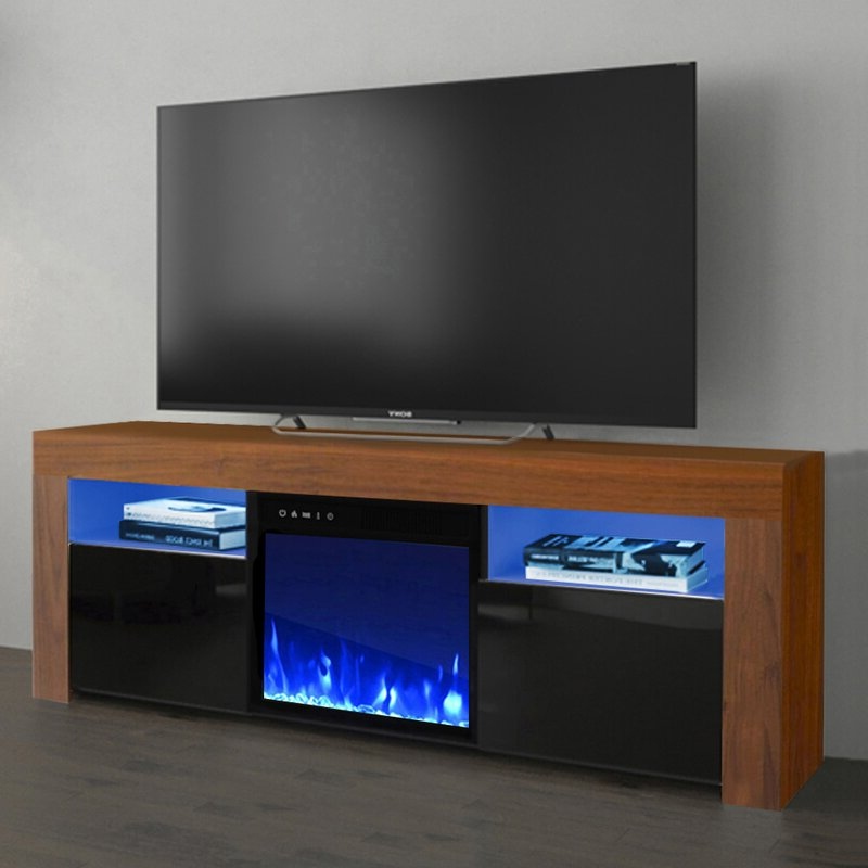 """Most Recently Released Orren Ellis Earle Tv Stand For Tvs Up To 65"""" With Electric For Rickard Tv Stands For Tvs Up To 65"""" With Fireplace Included (View 22 of 25)"""