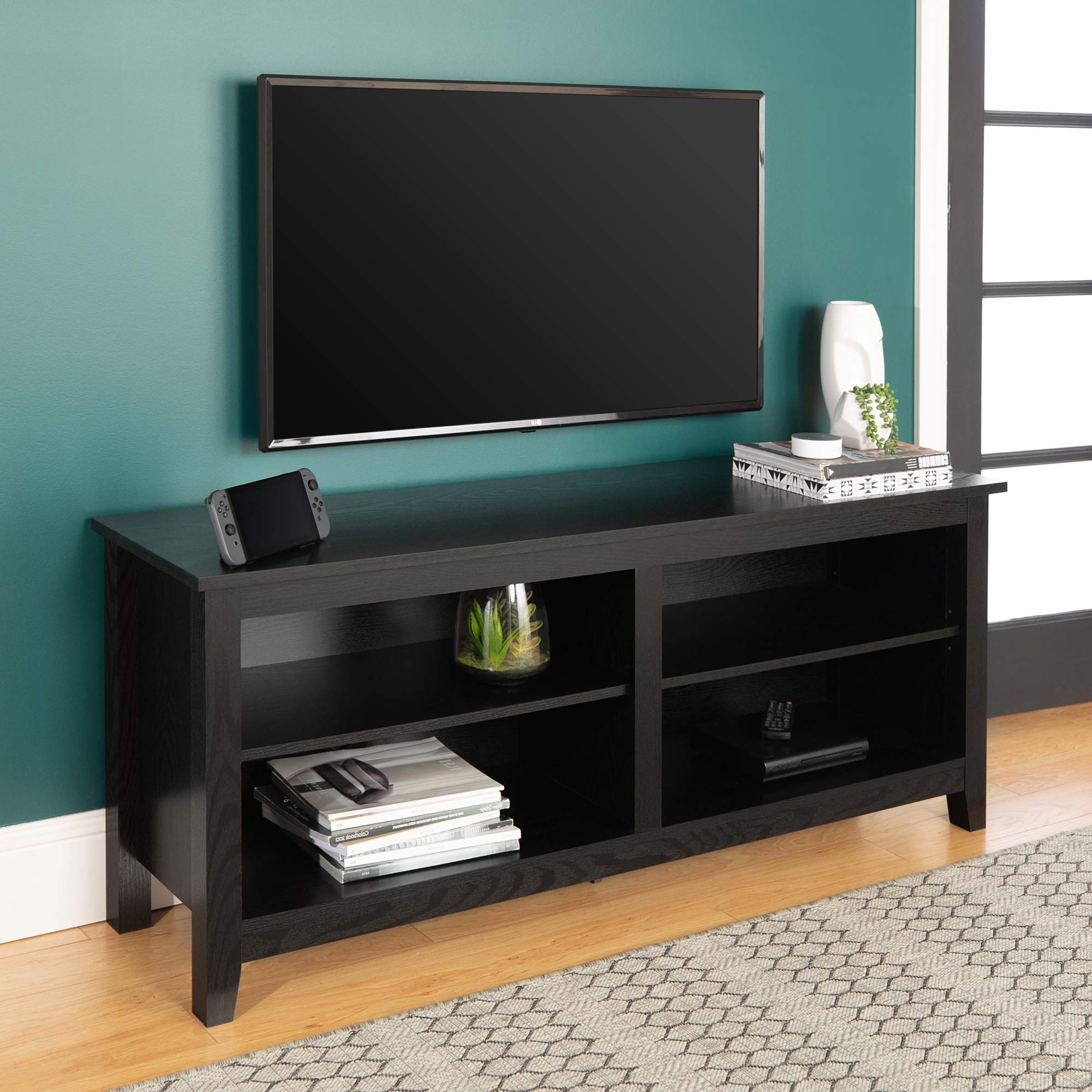 Most Recently Released Panama Tv Stands Inside Walker Edison Wren Classic 4 Cubby Tv Stand For Tvs Up To (View 15 of 25)
