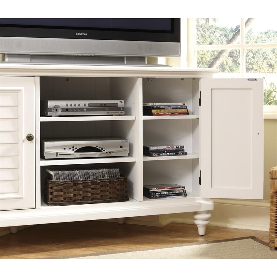 Most Recently Released Priya Corner Tv Stands Regarding Shop Home Styles Bermuda Brushed White Corner Corner (View 14 of 25)