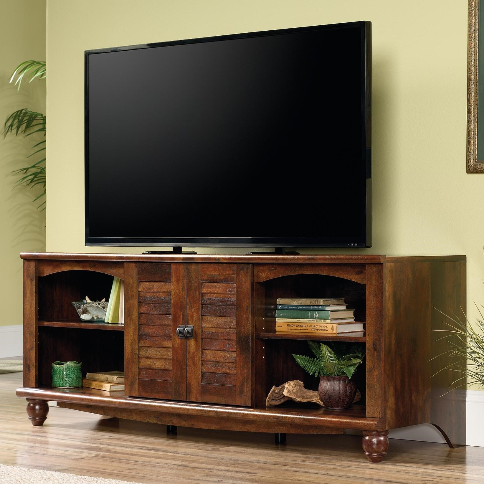 """Most Recently Released Sauder Harbor View 62"""" Louver Door Entertainment Credenza Within Harbor Wide Tv Stands (View 15 of 25)"""