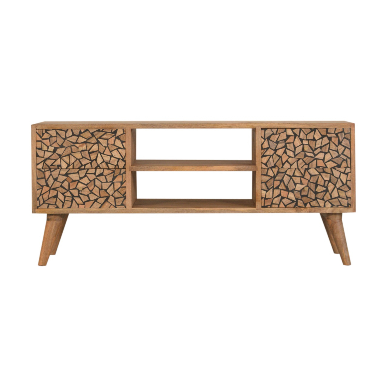 Most Recently Released Scandi 2 Drawer White Tv Media Unit Stands With Regard To Solid Oak Finished Mango Wood Scandinavian Style 4 Drawer (View 9 of 10)
