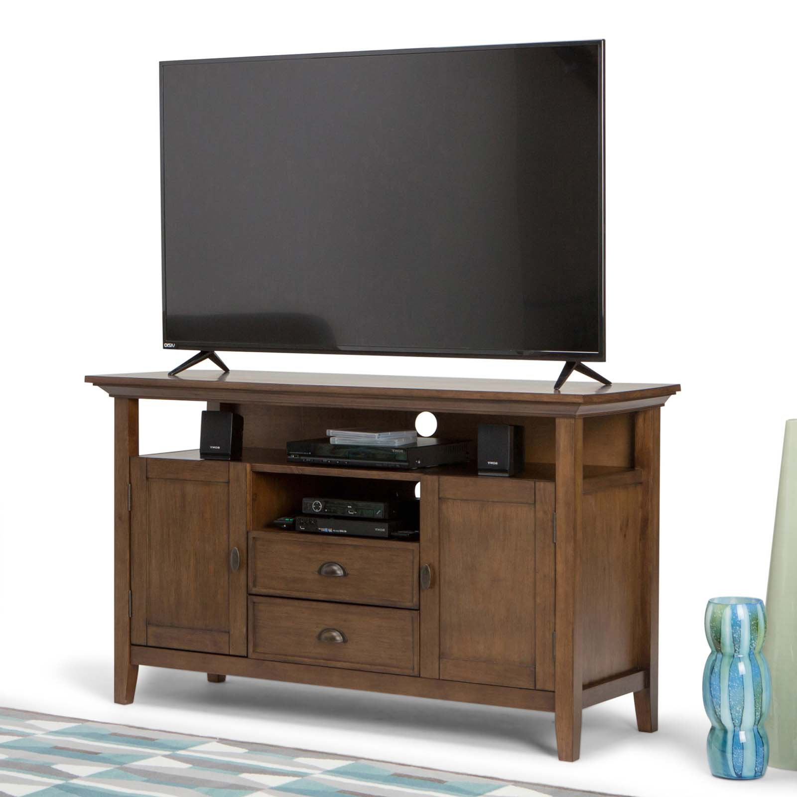 Most Recently Released Tv Stands In Simpli Home Redmond Tall Tv Media Stand – Walmart (View 3 of 16)