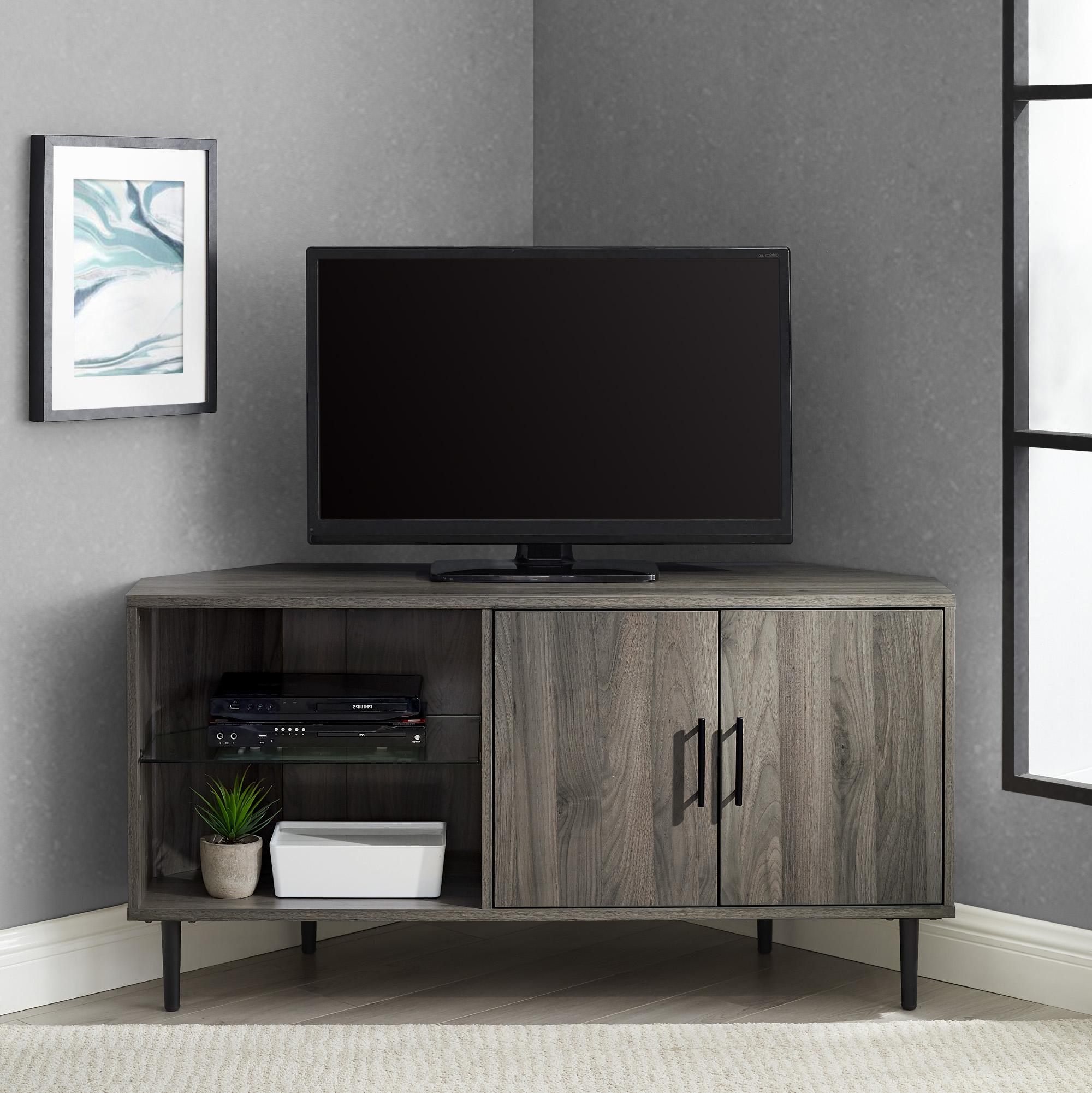 "Most Recently Released Walker Edison Furniture Company 48"" 2 Door Glass Shelf Throughout Basie 2 Door Corner Tv Stands For Tvs Up To 55"" (View 10 of 10)"