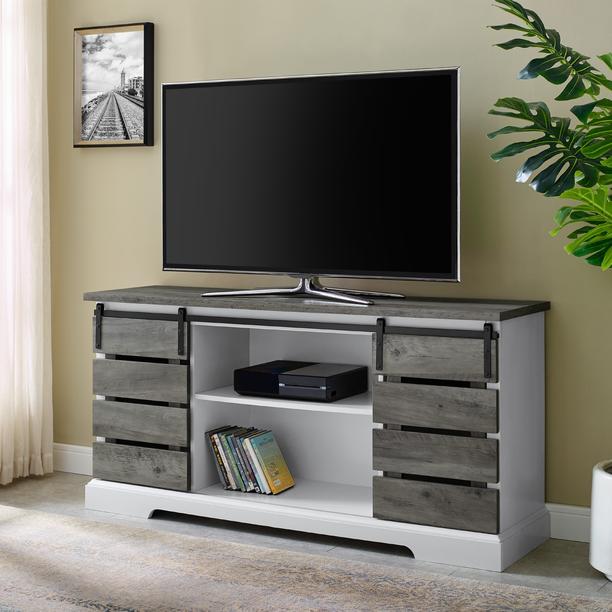 Most Recently Released Woven Paths Farmhouse Sliding Barn Door Tv Stands With Multiple Finishes Throughout Woven Paths Farmhouse Sliding Slat Door Tv Stand For Tvs (View 2 of 10)