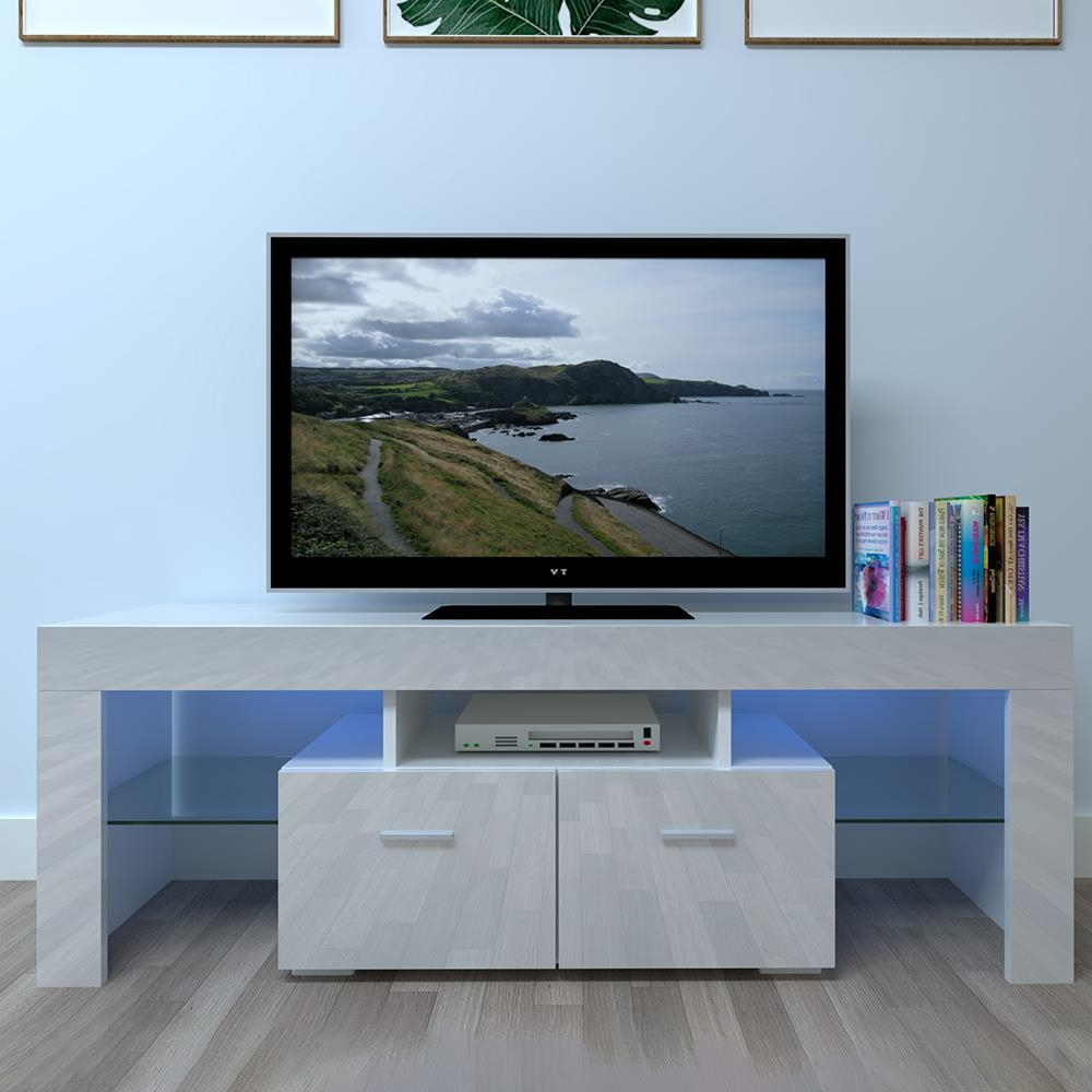 Most Recently Released Zimtown Tv Stands With High Gloss Led Lights Within Winado Tv Stand With Led Lights High Gloss Media Console (View 2 of 10)
