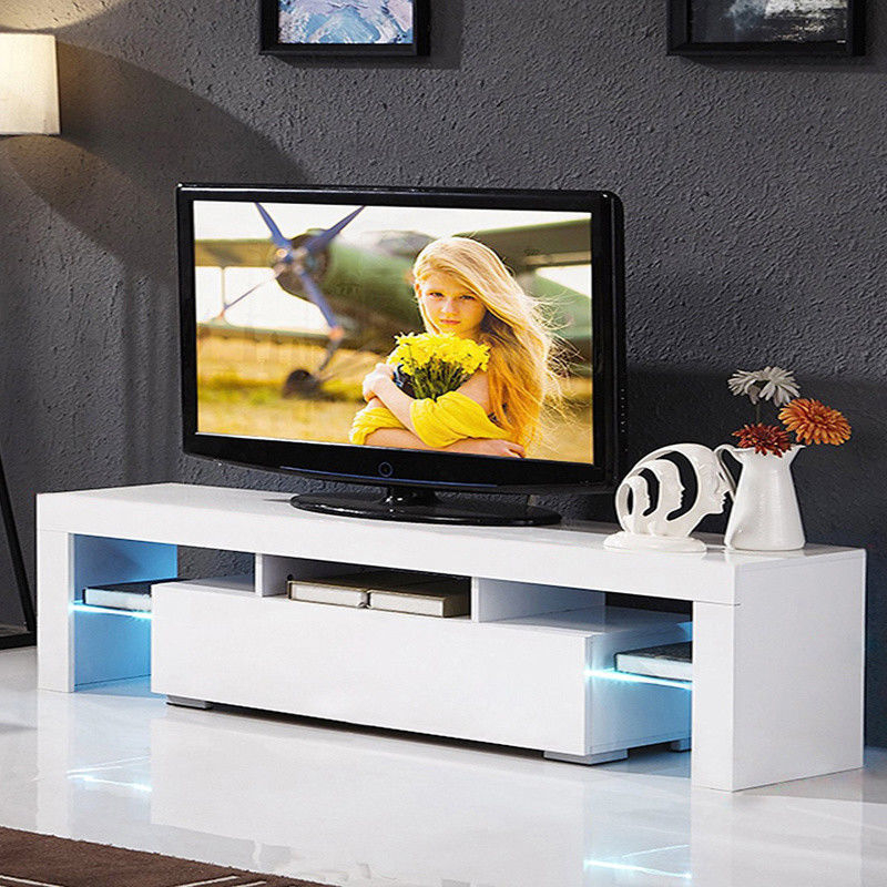 """Most Up To Date 47"""" Tv Stands High Gloss Tv Cabinet With 2 Drawers Pertaining To Zimtown Modern Tv Stand High Gloss Media Console Cabinet (View 6 of 10)"""