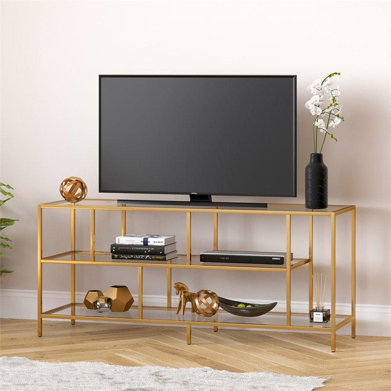 """Most Up To Date Adayah Tv Stands For Tvs Up To 60"""" In Evelyn&zoe Contemporary Metal Tv Stand With Glass Shelves (View 12 of 25)"""