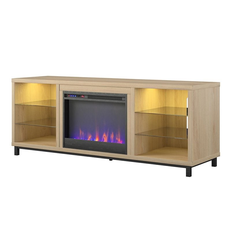 """Most Up To Date Ameriwood Home Lumina Deluxe Fireplace Tv Stand For Tvs Up In Ameriwood Home Rhea Tv Stands For Tvs Up To 70"""" In Black Oak (View 4 of 10)"""