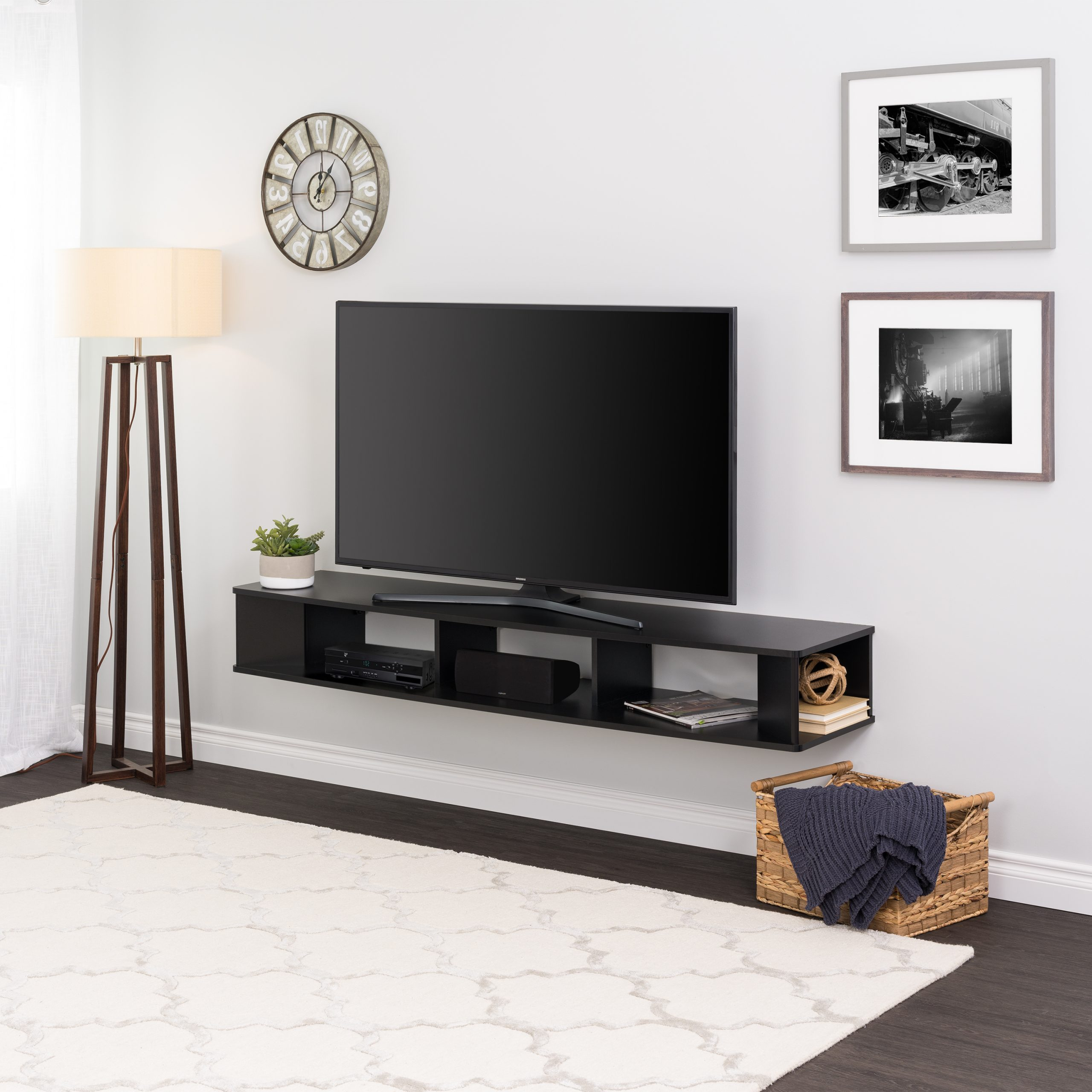 Most Up To Date Anya Wide Tv Stands With Prepac 70 Inch Wide Wall Mounted Tv Stand, Black – Walmart (View 1 of 10)