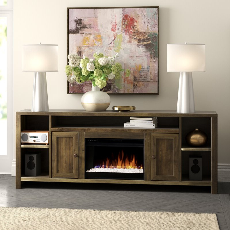 """Most Up To Date Aubree Tv Stand For Tvs Up To 88"""" With Electric Fireplace Within Gosnold Tv Stands For Tvs Up To 88"""" (View 5 of 25)"""