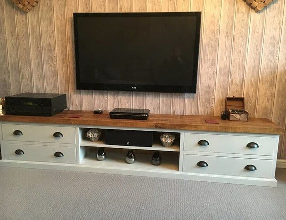 Most Up To Date Bromley Blue Wide Tv Stands Throughout Extra Large Wide Rustic Painted Solid Wood Tv Media Unit (View 4 of 10)