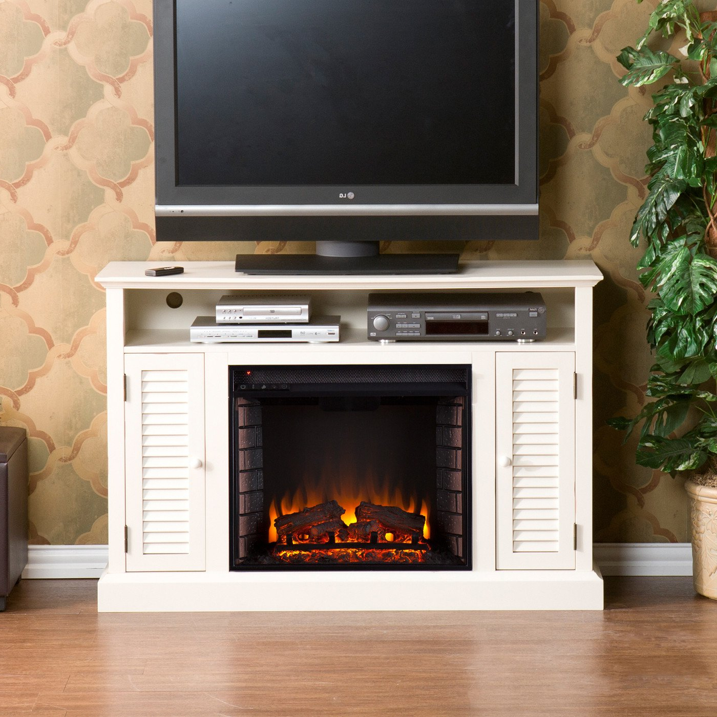 Most Up To Date Electric Fireplace Tv Stands With Shelf Pertaining To 50 Electric Fireplace Tv Stand Console With Antique White (View 2 of 10)