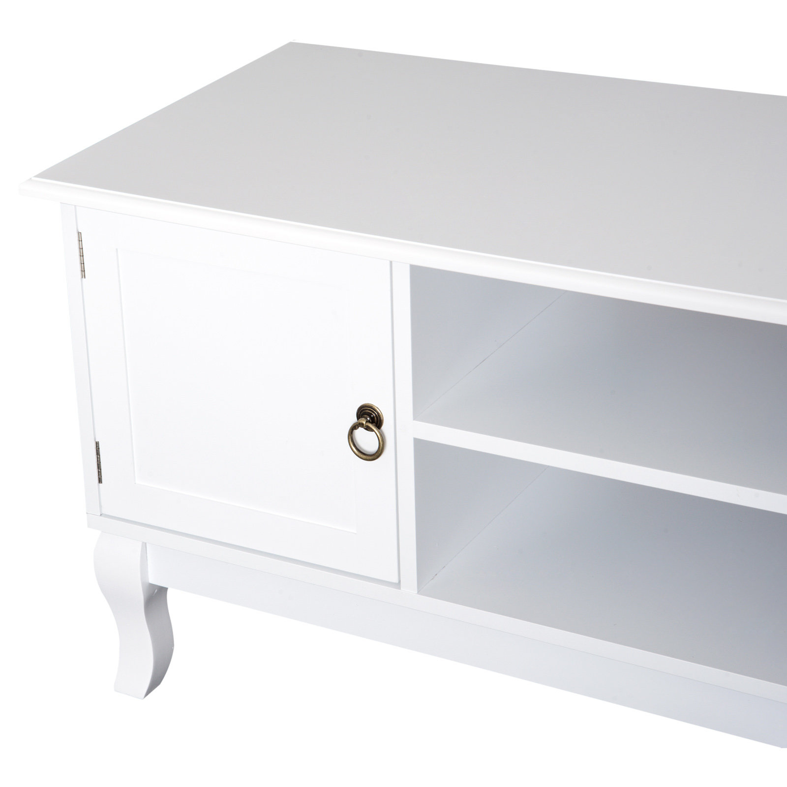 Most Up To Date Homcom Tv Stand Unit Corner Table Modern Eco Friendly Mdf With Regard To Compton Ivory Corner Tv Stands (View 15 of 25)