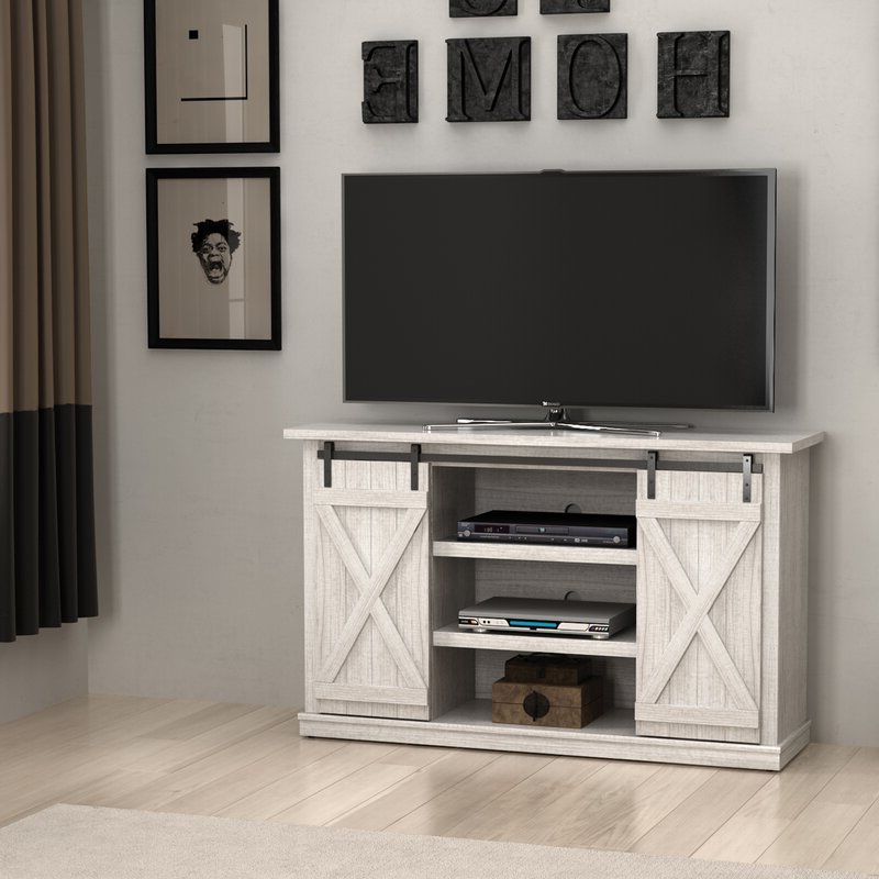 """Most Up To Date Kasen Tv Stands For Tvs Up To 60"""" With Three Posts Lorraine Tv Stand For Tvs Up To 60"""" & Reviews (View 8 of 25)"""