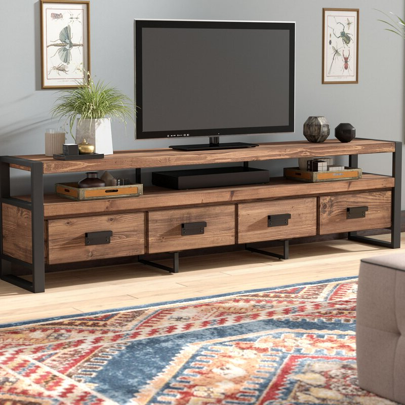 """Most Up To Date Kylee Solid Wood Tv Stand For Tvs Up To 88 Inches Regarding Baba Tv Stands For Tvs Up To 55"""" (View 13 of 25)"""