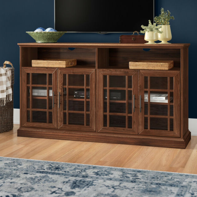 Most Up To Date Modern Tv Stands In Oak Wood And Black Accents With Storage Doors In Sunray Tv Stand Glass Doors Open Shelves Storage Classic (View 5 of 10)