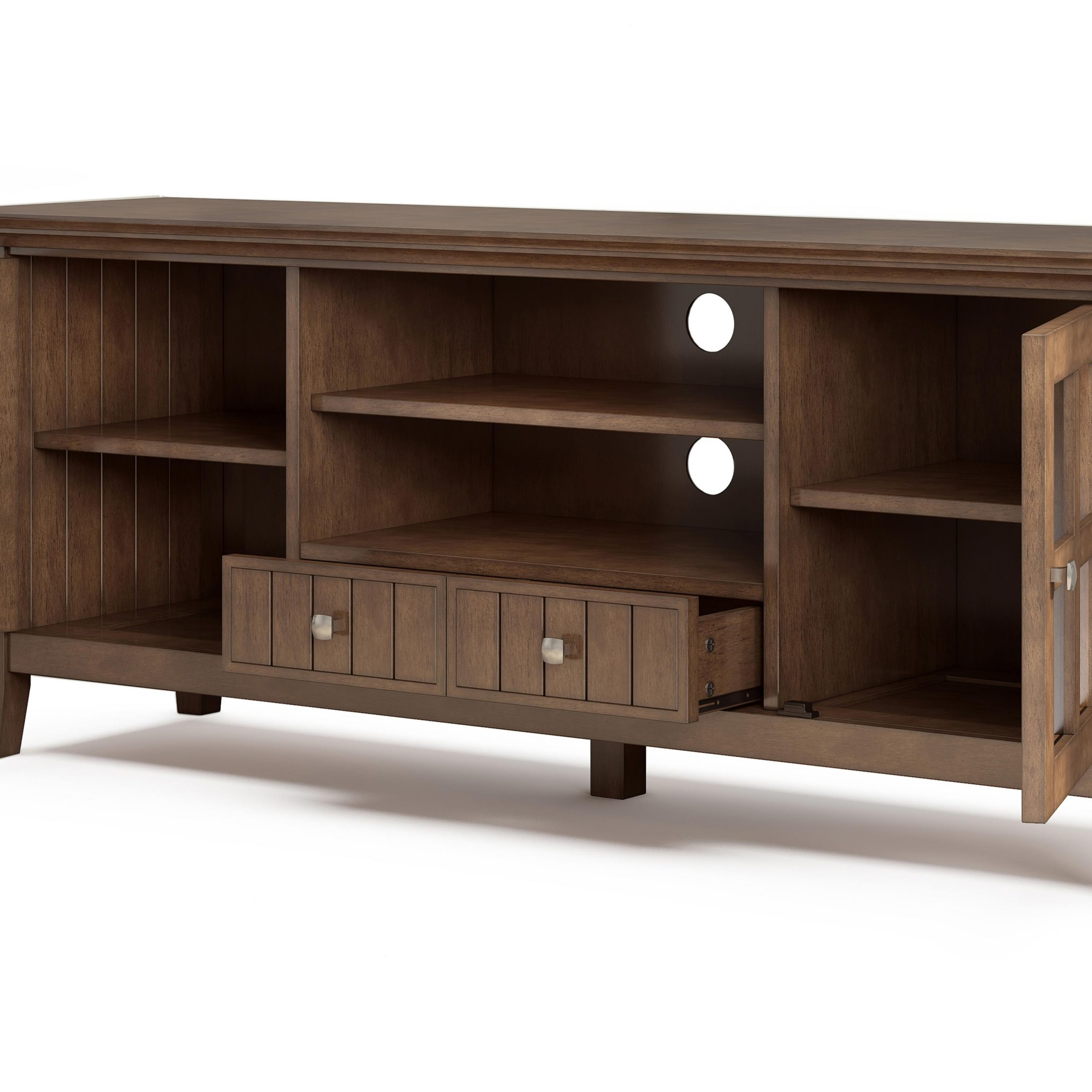Most Up To Date Simpli Home Acadian Solid Wood 60 Inch Wide Rustic Tv For Orsen Wide Tv Stands (View 25 of 25)