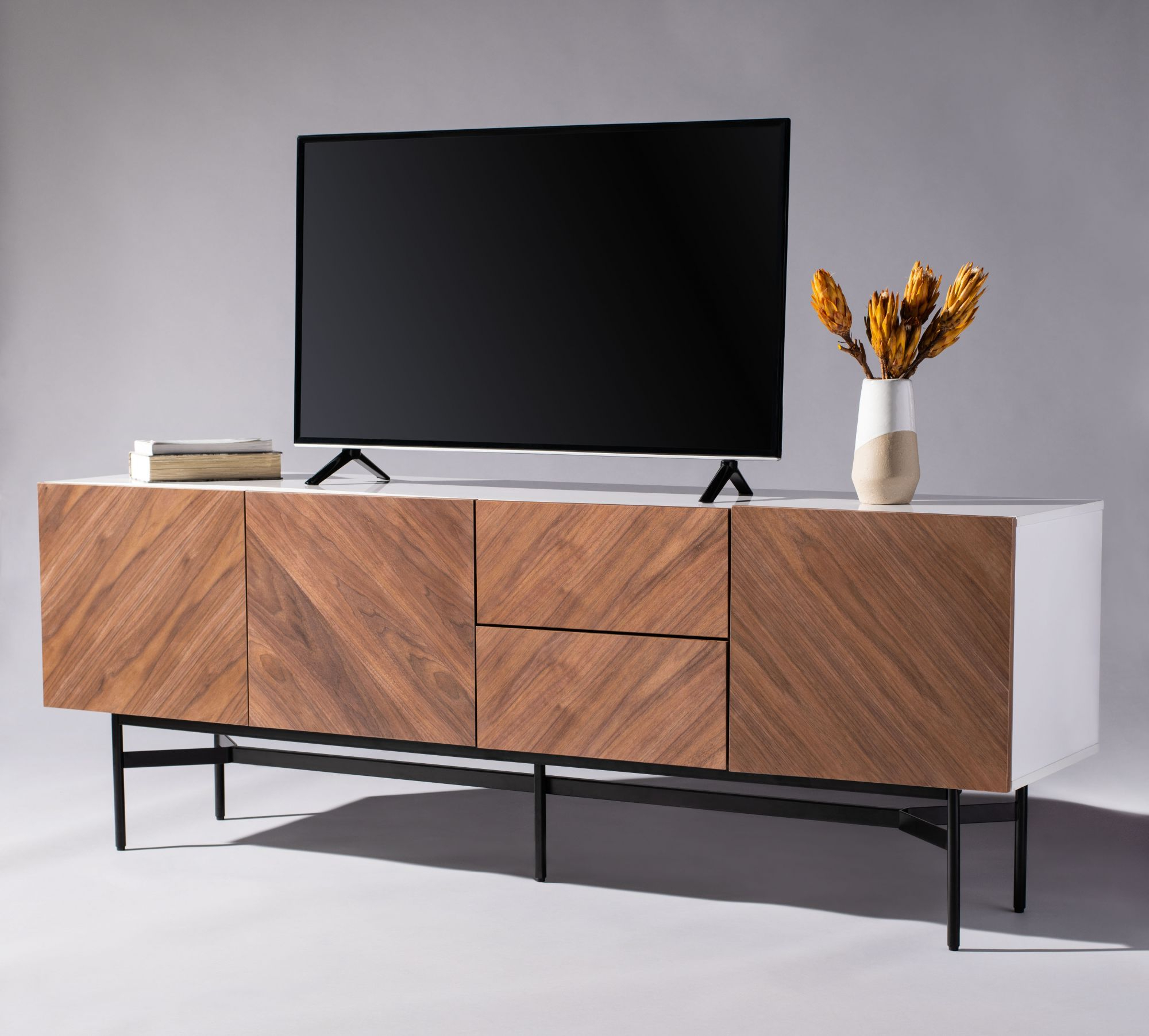 Most Up To Date Skip Wood Tv Stand Pertaining To Modern Mobile Rolling Tv Stands With Metal Shelf Black Finish (View 3 of 10)
