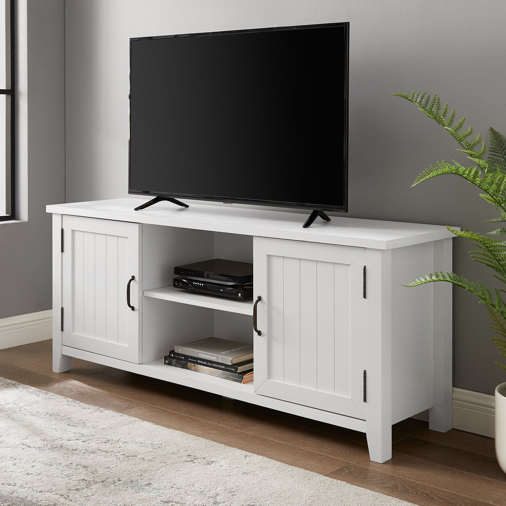 Most Up To Date Solid White 58 Inch Grooved Door Tv Stand – Coastal With Regard To Walker Edison Farmhouse Tv Stands With Storage Cabinet Doors And Shelves (View 5 of 10)
