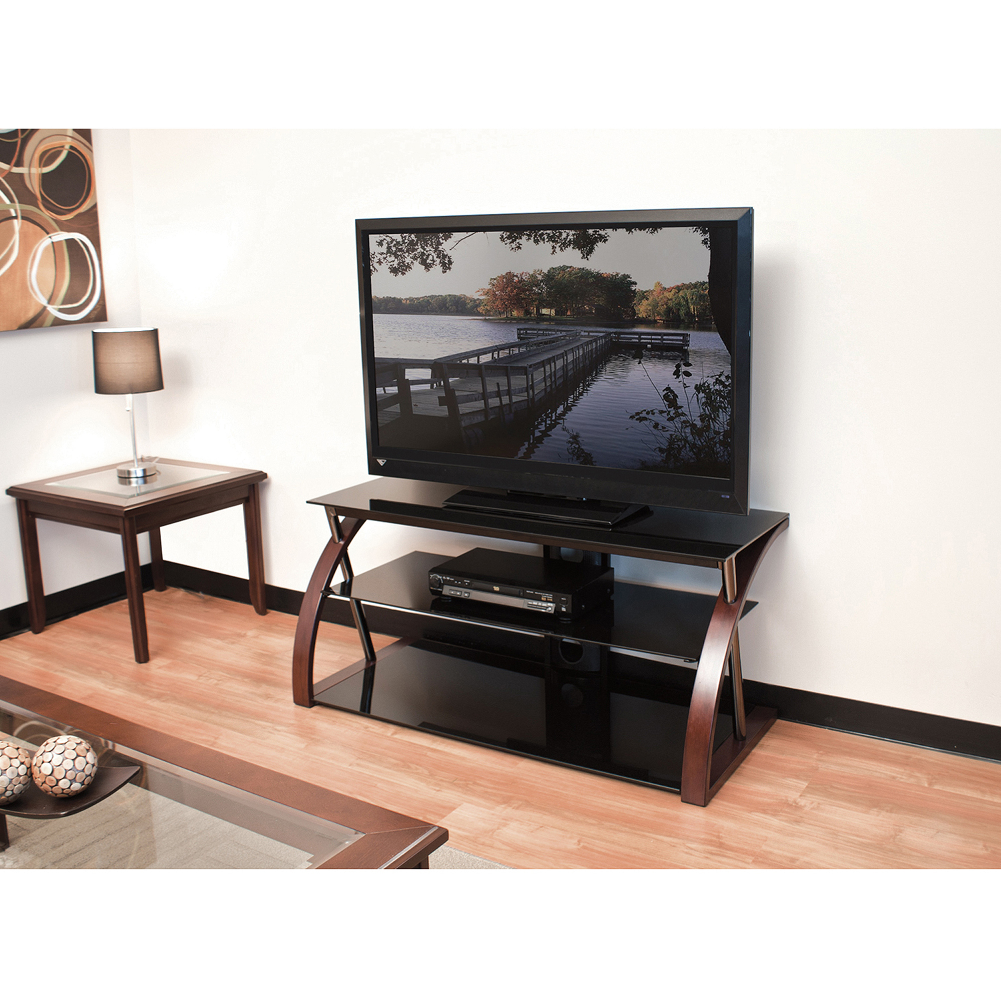 """Most Up To Date Spellman Tv Stands For Tvs Up To 55"""" Inside Techcraft 48"""" Wood, Metal And Glass Tv Stand For Tvs Up To (View 15 of 25)"""