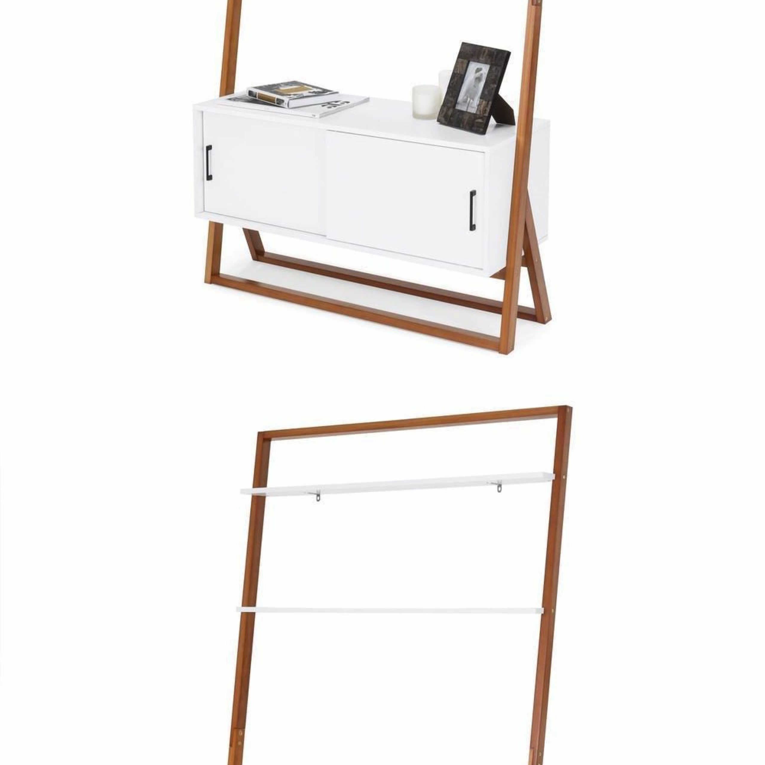 Most Up To Date Tiva White Ladder Tv Stands In Ladder Tv Stand Shelf Cabinet Contemporary White Wood (View 5 of 10)