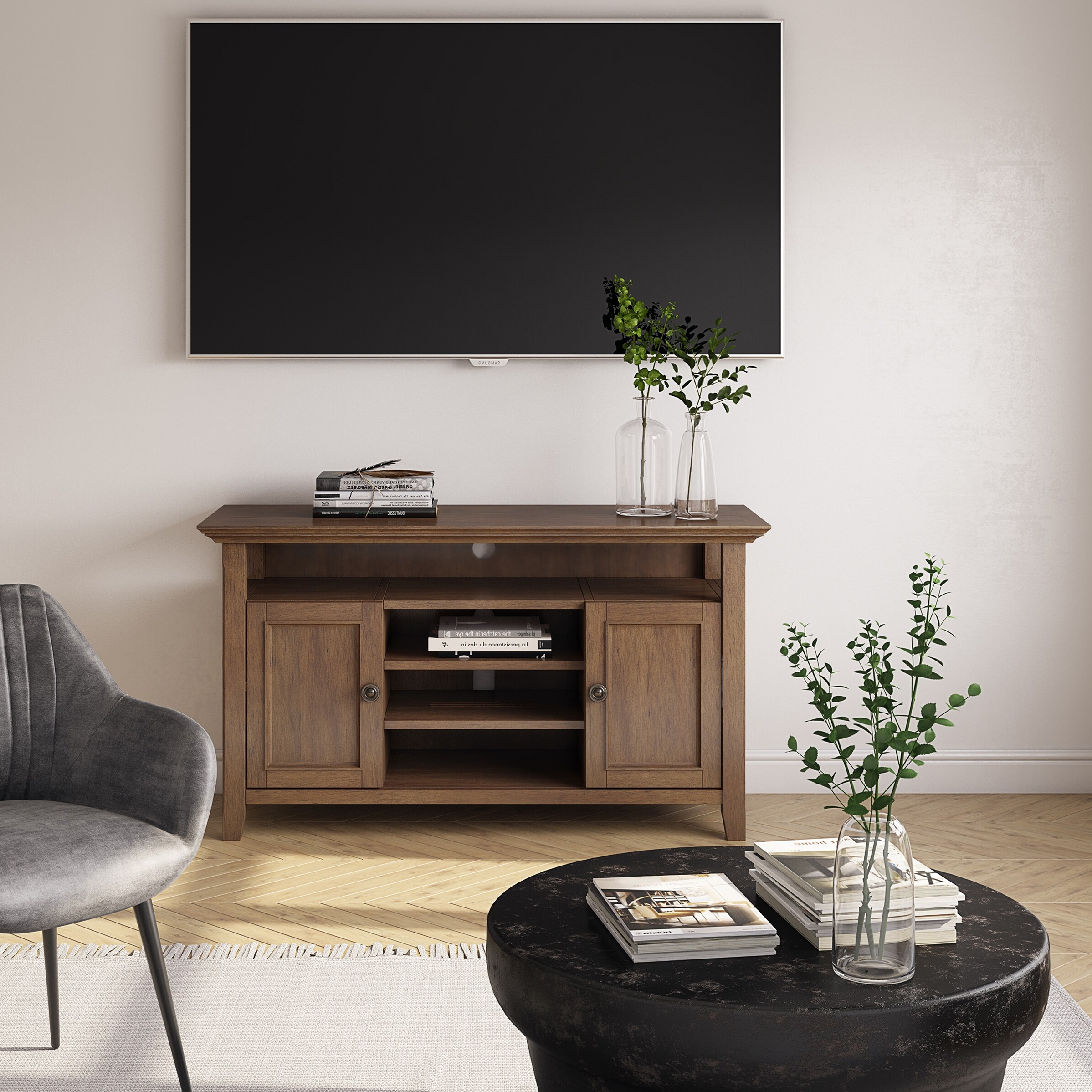 Most Up To Date Wyndenhall Halifax Solid Wood 54 Inch Wide Transitional Tv Regarding Bromley Extra Wide Oak Tv Stands (View 19 of 25)