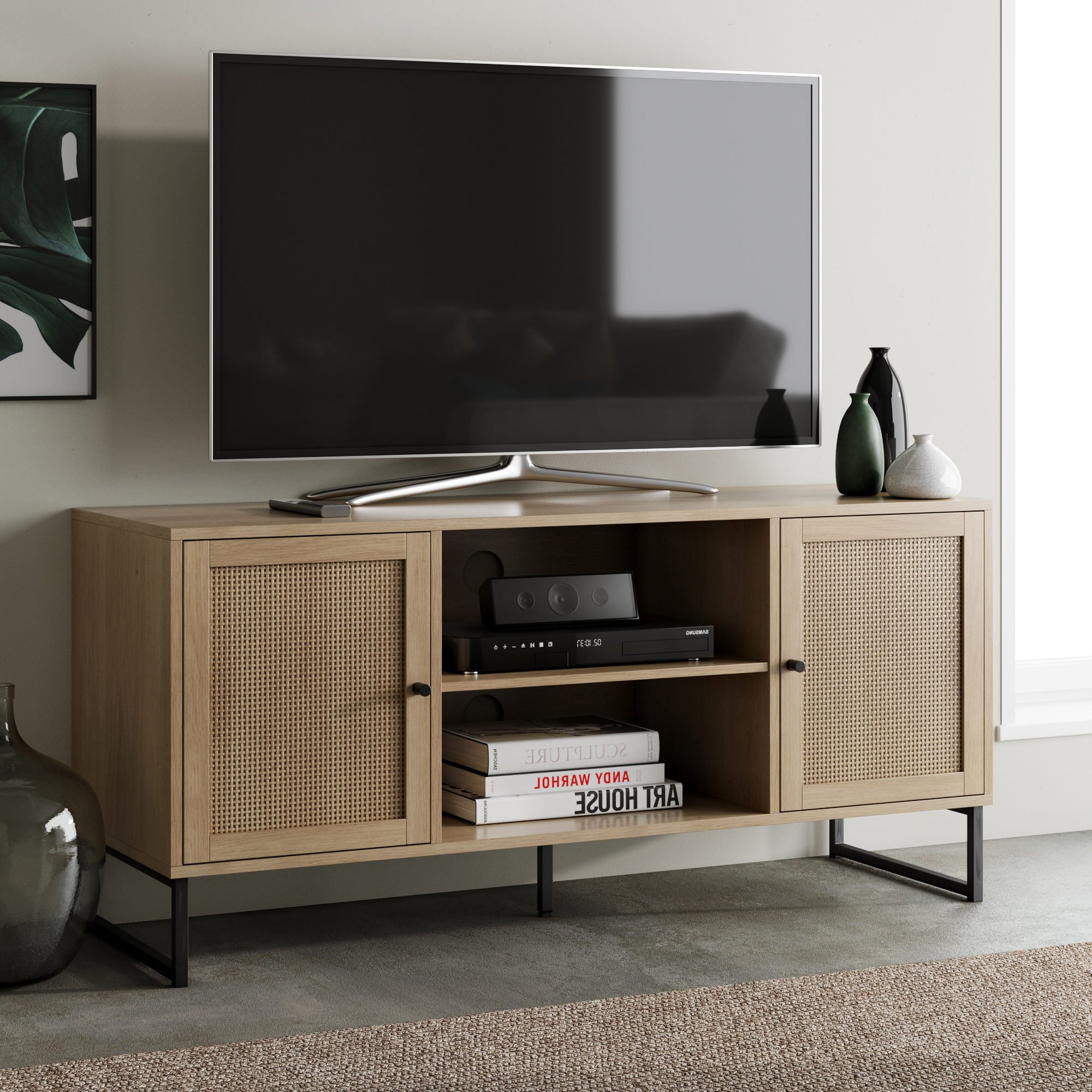 Nathan James Mina Modern Tv Stand Entertainment Cabinet Inside 2017 Modern Black Floor Glass Tv Stands With Mount (View 9 of 10)