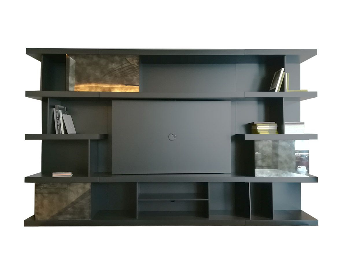 Natuzzi Italia Kubika Bookshelf With Tv Stand Throughout Most Recently Released Penelope Dove Grey Tv Stands (View 9 of 10)
