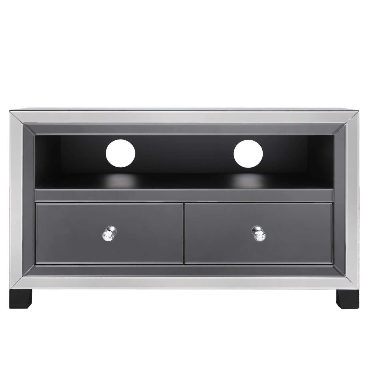 Nero Smoked Mirror Tv Stand Intended For Well Liked Fitzgerald Mirrored Tv Stands (View 13 of 25)