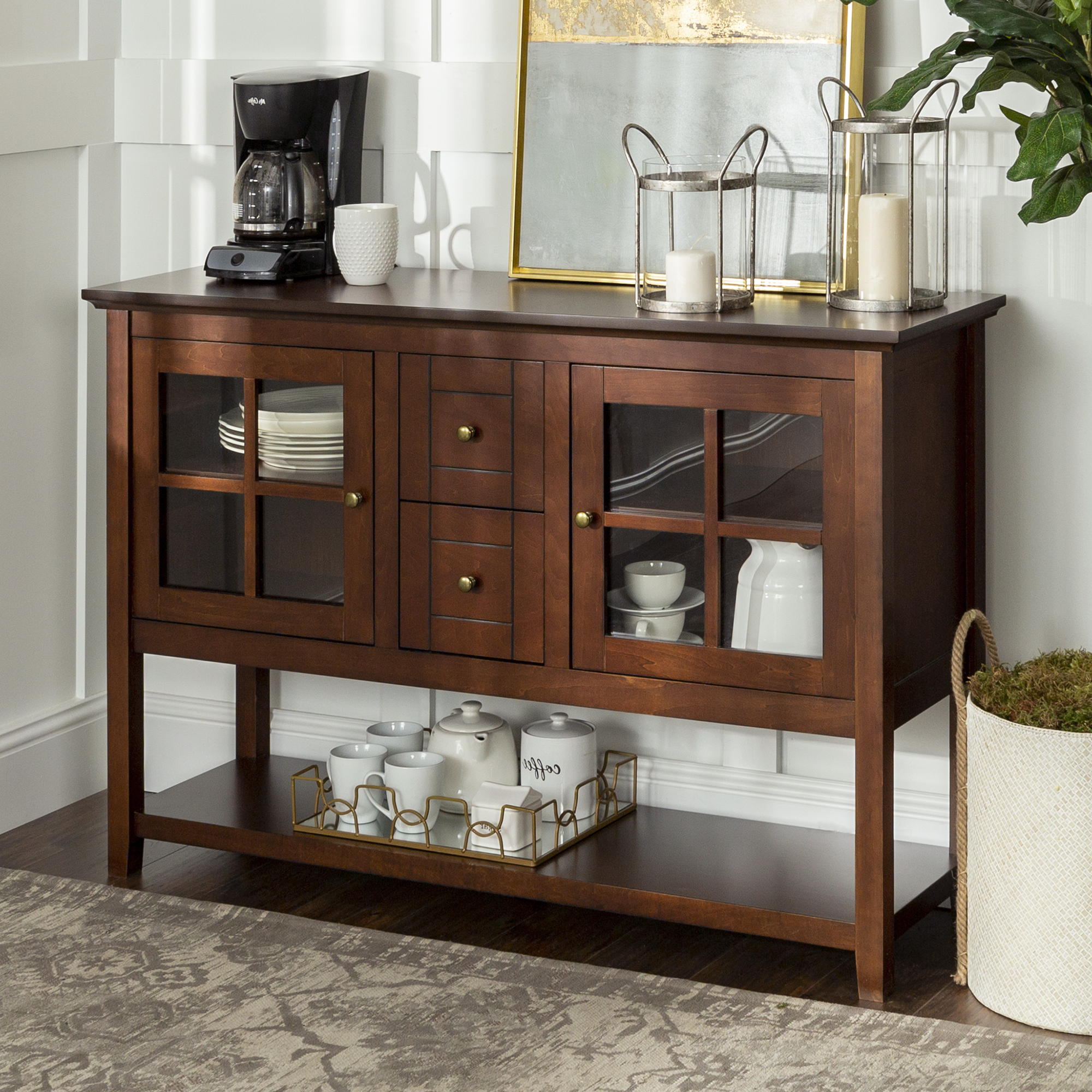 """Newest 52"""" Wood Console Table Buffet Tv Stand For Tv's Up To 55 Regarding Twila Tv Stands For Tvs Up To 55"""" (View 14 of 25)"""