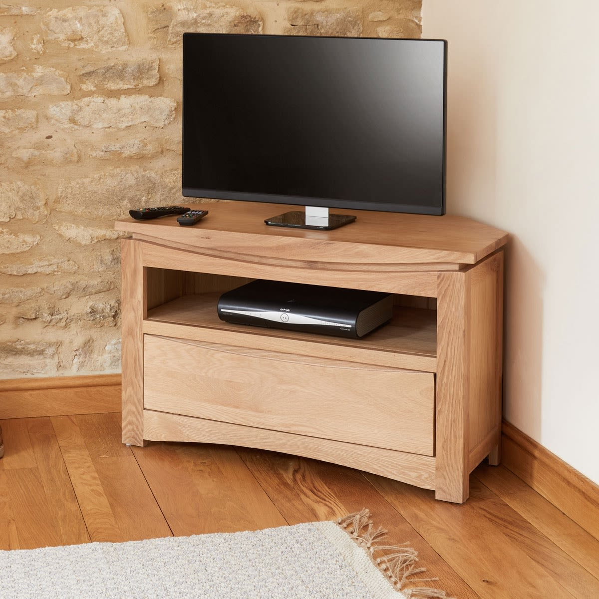 Newest Bromley Extra Wide Oak Tv Stands With Regard To Roscoe Contemporary Oak Corner Television Cabinet Was £ (View 8 of 25)