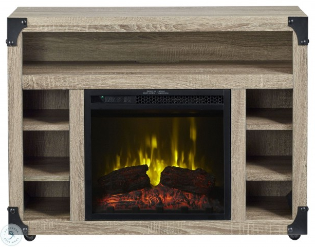 """Newest Chelsea Distressed Oak 37"""" Tv Stand Electric Fireplace Throughout Fireplace Media Console Tv Stands With Weathered Finish (View 9 of 10)"""