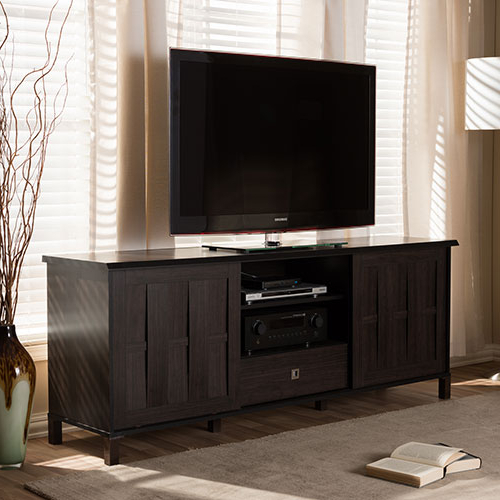 Newest Dark Brown Tv Cabinets With 2 Sliding Doors And Drawer Pertaining To Baxton Studio Unna 70in (View 2 of 10)