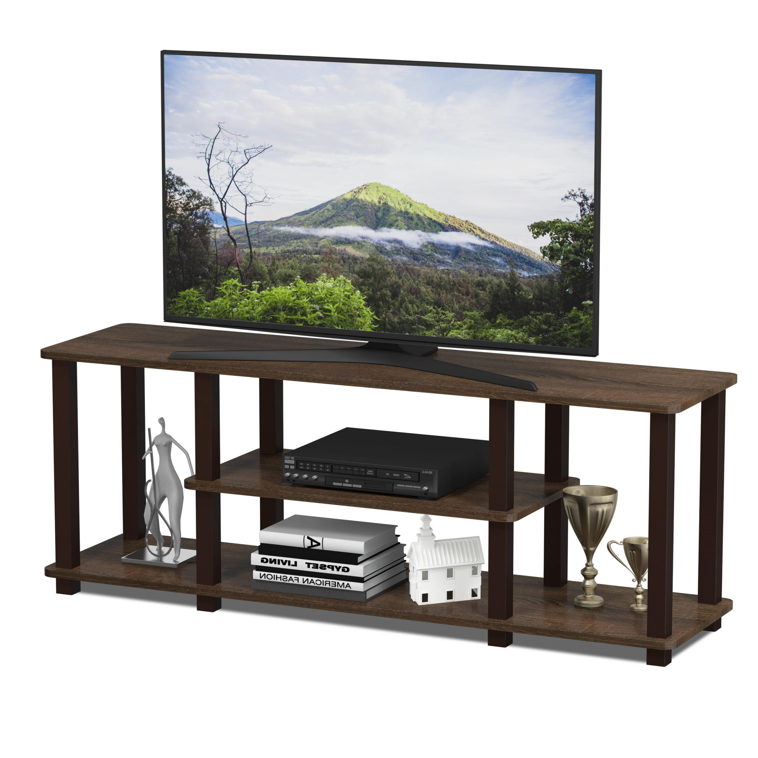 Newest Furinno 2 Tier Elevated Tv Stands Intended For Furinno Turn S Tube No Tools 3d 3 Tier Entertainment Tv (View 6 of 10)