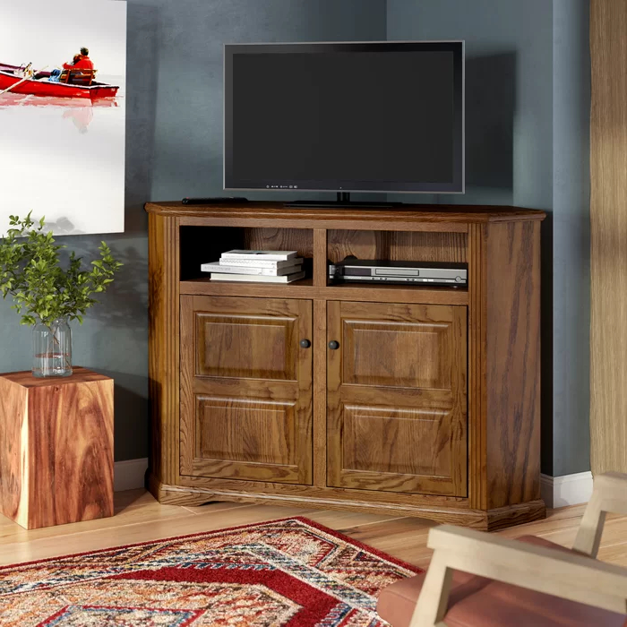 """Newest Glastonbury Solid Wood Corner Tv Stand For Tvs Up To 65 For Solid Wood Tv Stands For Tvs Up To 65"""" (View 19 of 25)"""