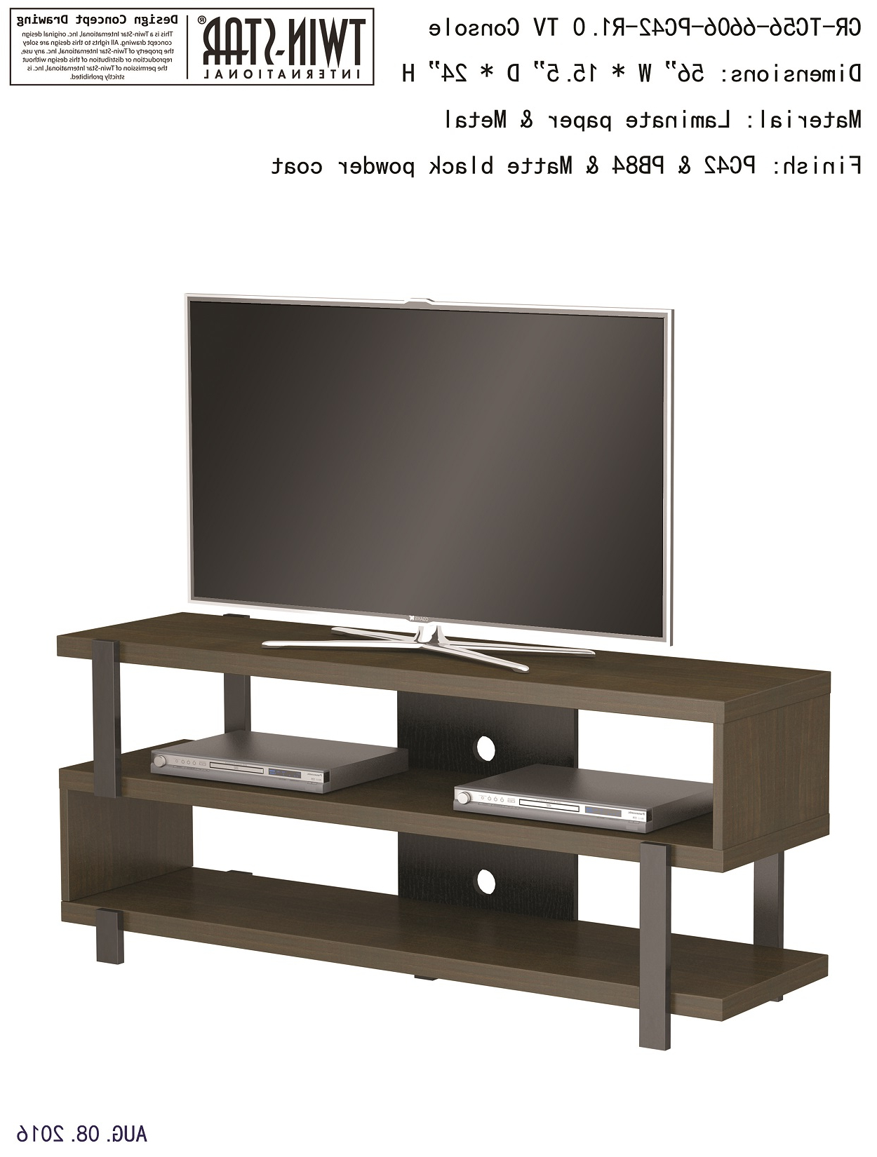 """Newest Harbor Wide Tv Stands In 56"""" Oak Harbor Oyster Walnut Entertainment Media Tv Stand (View 11 of 25)"""