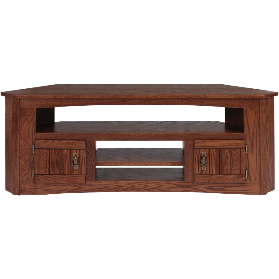 """Newest Hex Corner Tv Stands Intended For Solid Oak Mission Style Corner Tv Stand – 61"""" – The Oak (View 18 of 25)"""