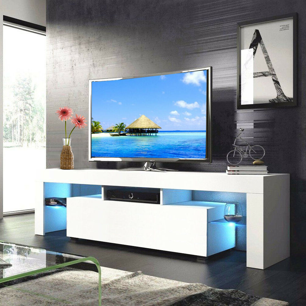 """Newest High Gloss White 63'' Tv Stand Unit Cabinet With Led Light With 47"""" Tv Stands High Gloss Tv Cabinet With 2 Drawers (View 10 of 10)"""
