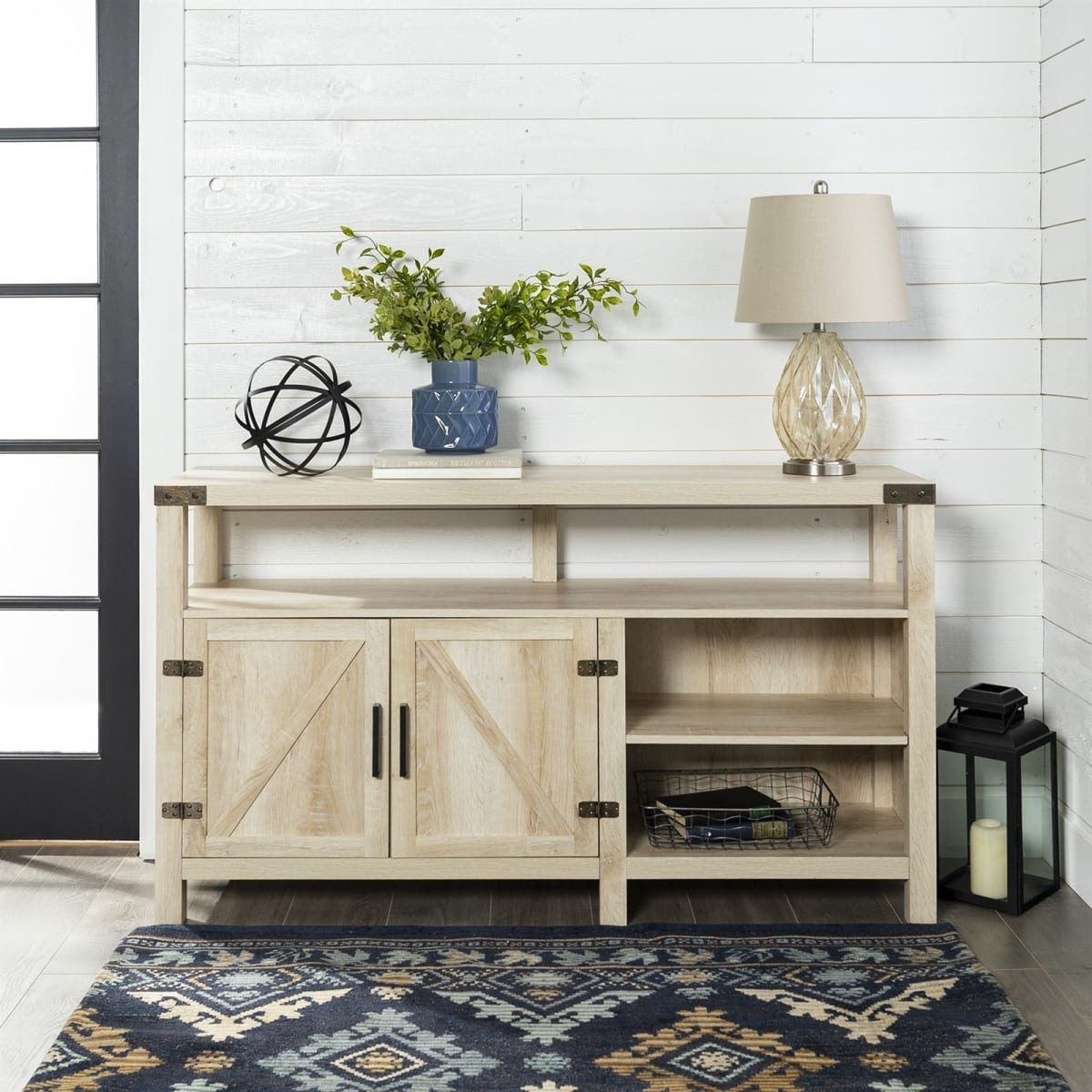 """Newest Jaxpety 58"""" Farmhouse Sliding Barn Door Tv Stands In Rustic Gray Intended For 58\\"""" Barndoor Highboy Tv Stand (View 5 of 10)"""