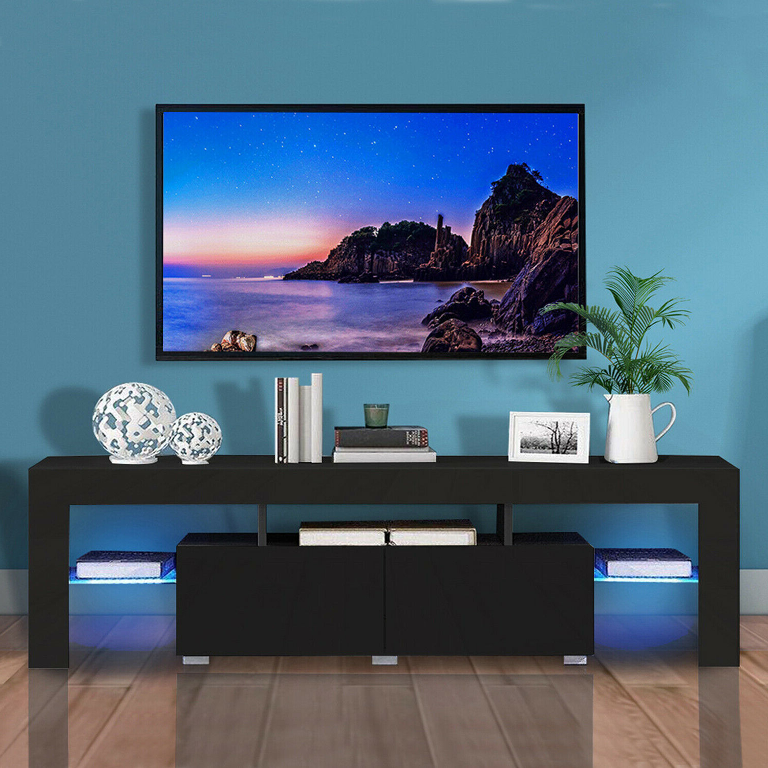 Newest Ktaxon Modern High Gloss Tv Stands With Led Drawer And Shelves In Modern Led Tv Stand Cabinet Unit Media Storage Console (View 7 of 10)