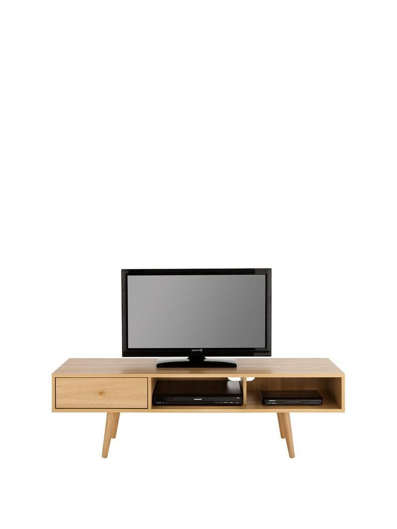 Newest Monty Retro Tv Unit  Fits Up To 65 Inch Tv – Oak Effect Within Fulton Oak Effect Corner Tv Stands (View 23 of 25)