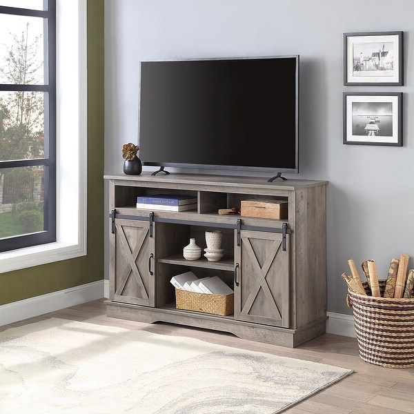 """Newest Shop Belleze Parker 52"""" Tv Stand Sliding Barn Door Console With Jaxpety 58"""" Farmhouse Sliding Barn Door Tv Stands In Rustic Gray (View 9 of 10)"""