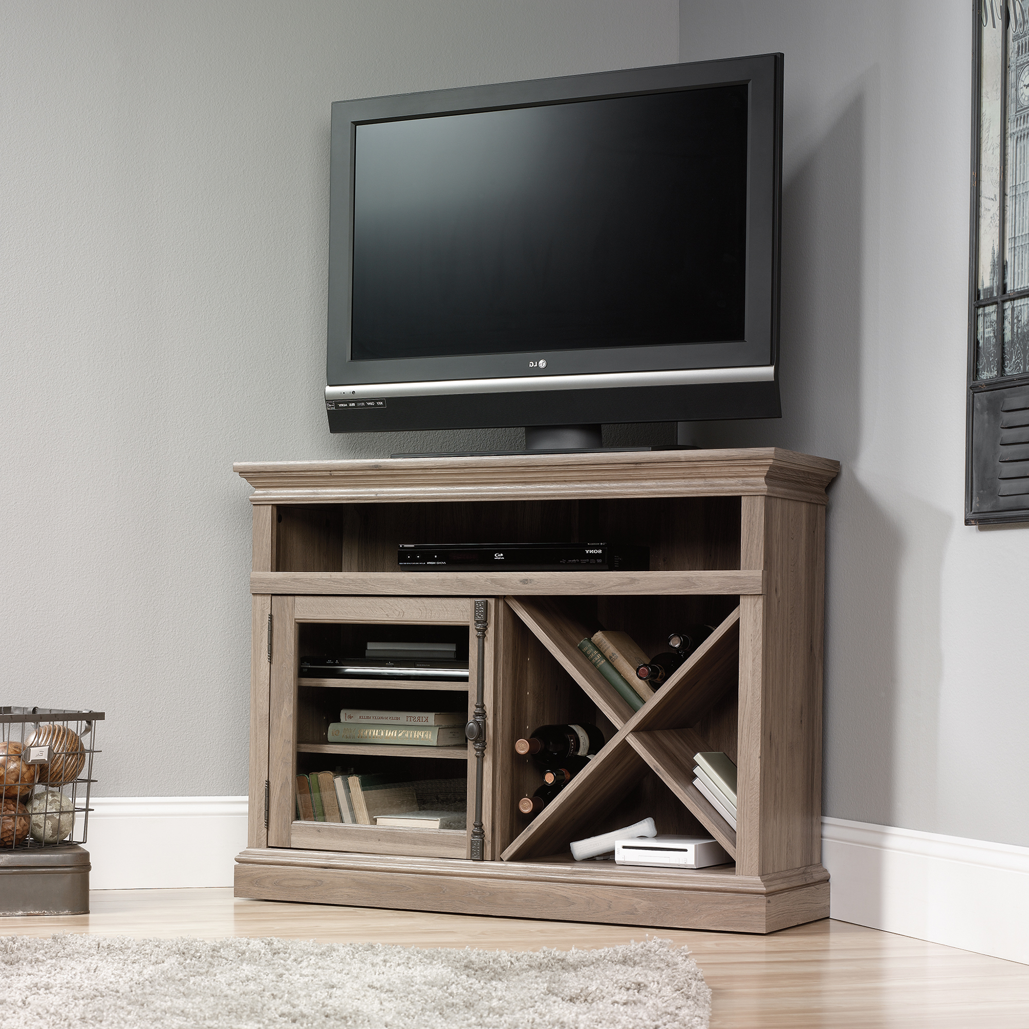 Newest Space Saving Black Tall Tv Stands With Glass Base In Sauder Corner Tv Stand (414729) – The Furniture Co (View 6 of 10)