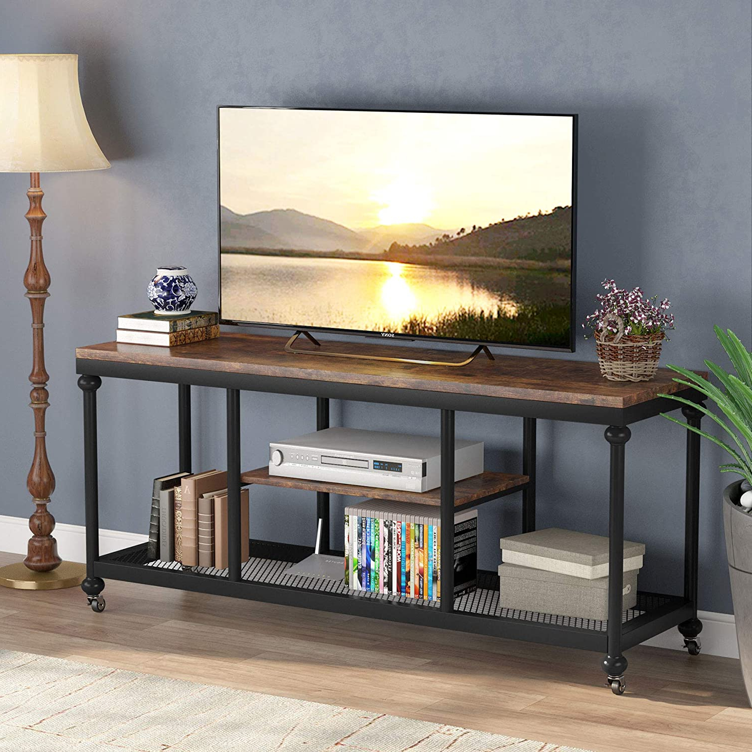 """Newest Tribesigns Tv Stand, Console Media Stand With Rustic Pipe With Regard To Evelynn Tv Stands For Tvs Up To 60"""" (View 21 of 25)"""