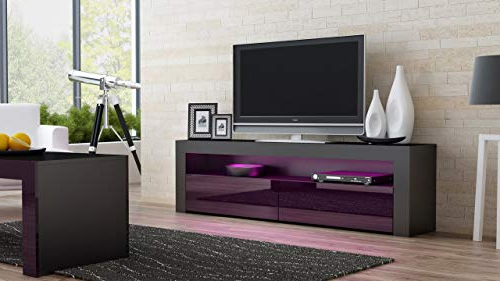 Newest Tv Console Milano Classic Black – Tv Stand Up To 70 Inch Within Milano White Tv Stands With Led Lights (View 18 of 25)