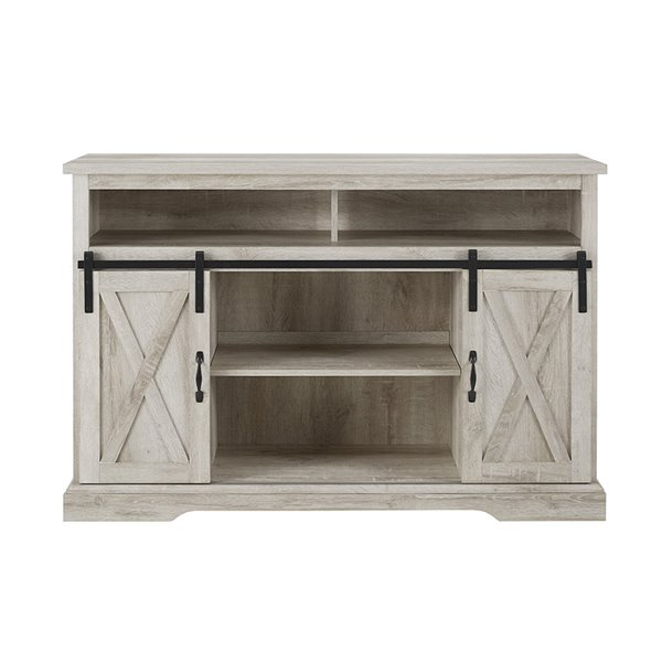 Newest Walker Edison Farmhouse Tv Cabinet – 52 In X 33 In – White With Regard To Walker Edison Farmhouse Tv Stands With Storage Cabinet Doors And Shelves (View 7 of 10)